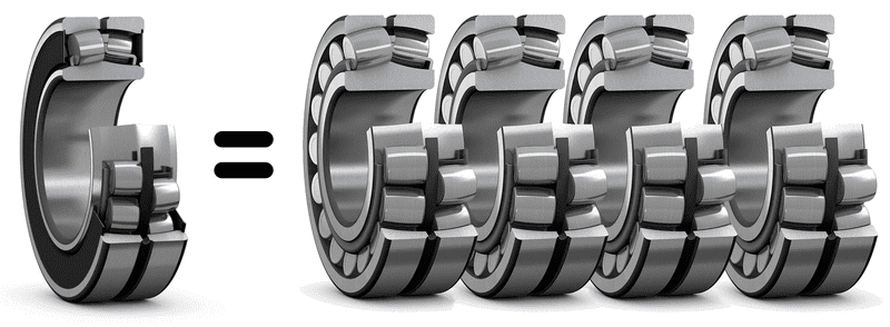 The rating life of a sealed spherical roller bearing can be up to four times the rating life of an open spherical roller bearing in a typically contaminated environment