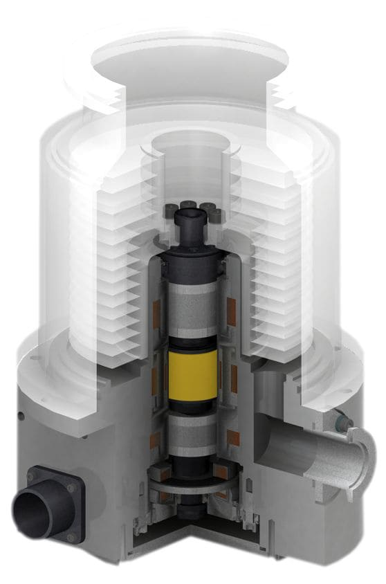 Turbomolecular pump with SKF S2M Magnetic Bearings installed