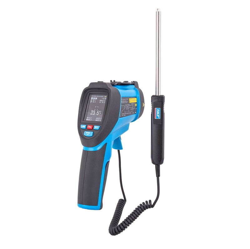 Dual laser infrared and contact video thermometer