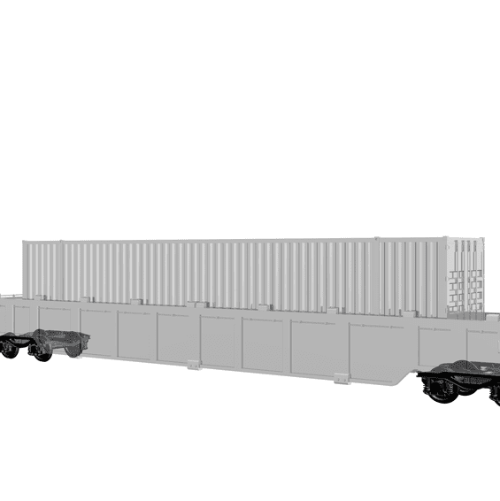 3D Freight wagon 67 degrees right