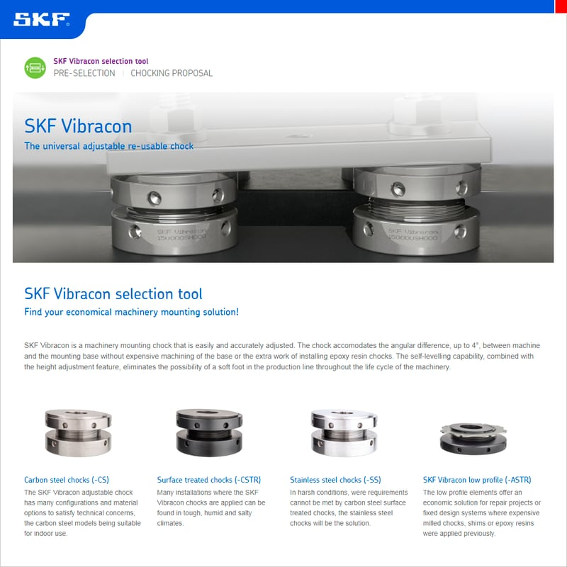 Aplicativo do SKF Vibracon