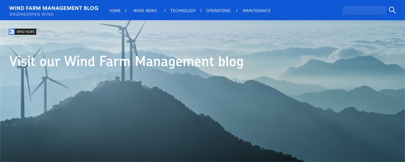 Wind Farm Management hub banner with text