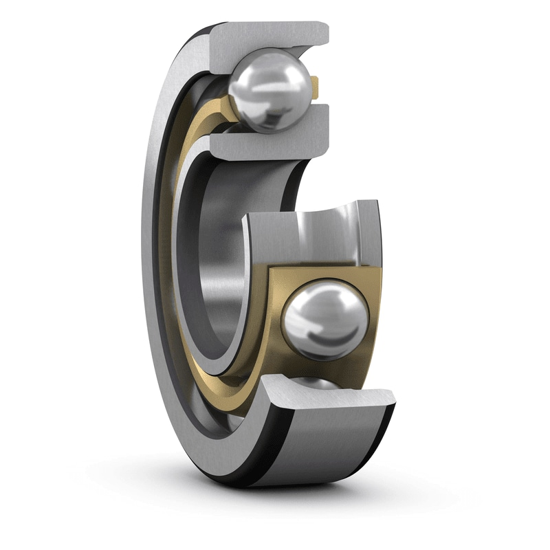 SKF single row angular contact ball bearing with optimized brass cage_7305 ACCBM_cut view