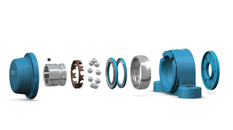 SKF Food Line ball bearing unit (exploded view)