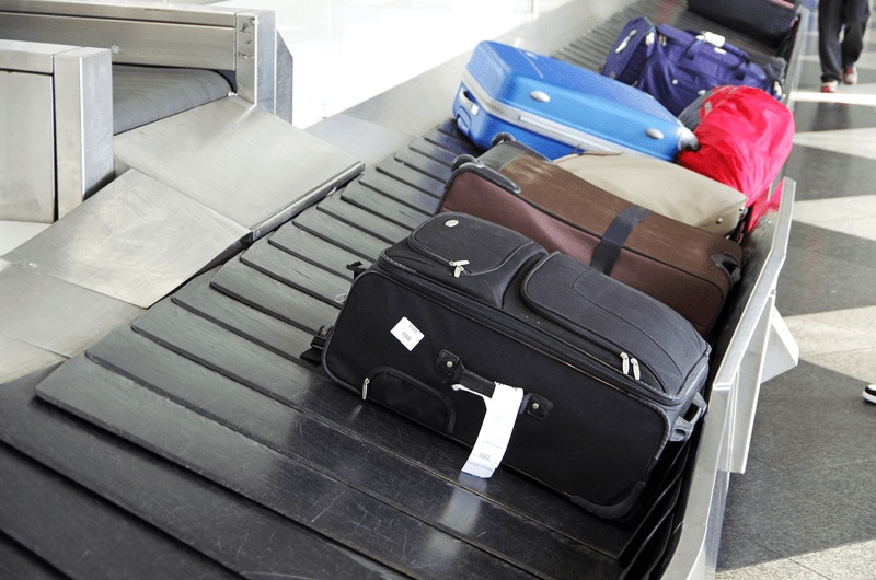 Baggage on a conveyor belt