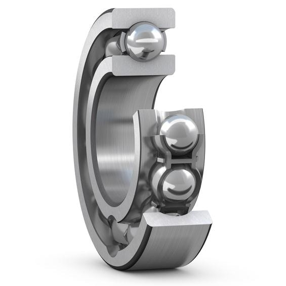Deep groove ball bearing with filling slots