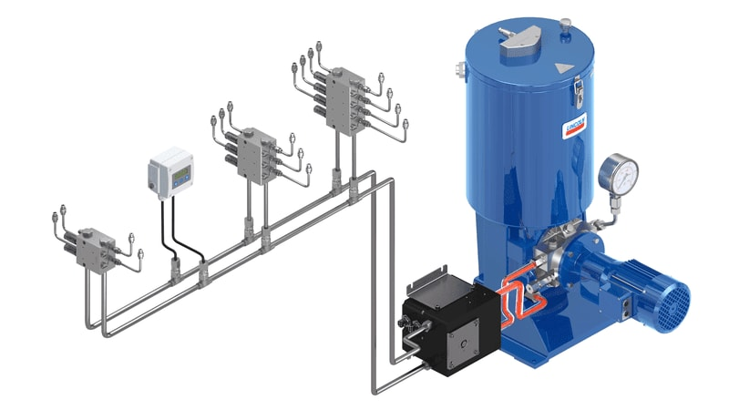 Dual-line grease lubrication system - steel lines