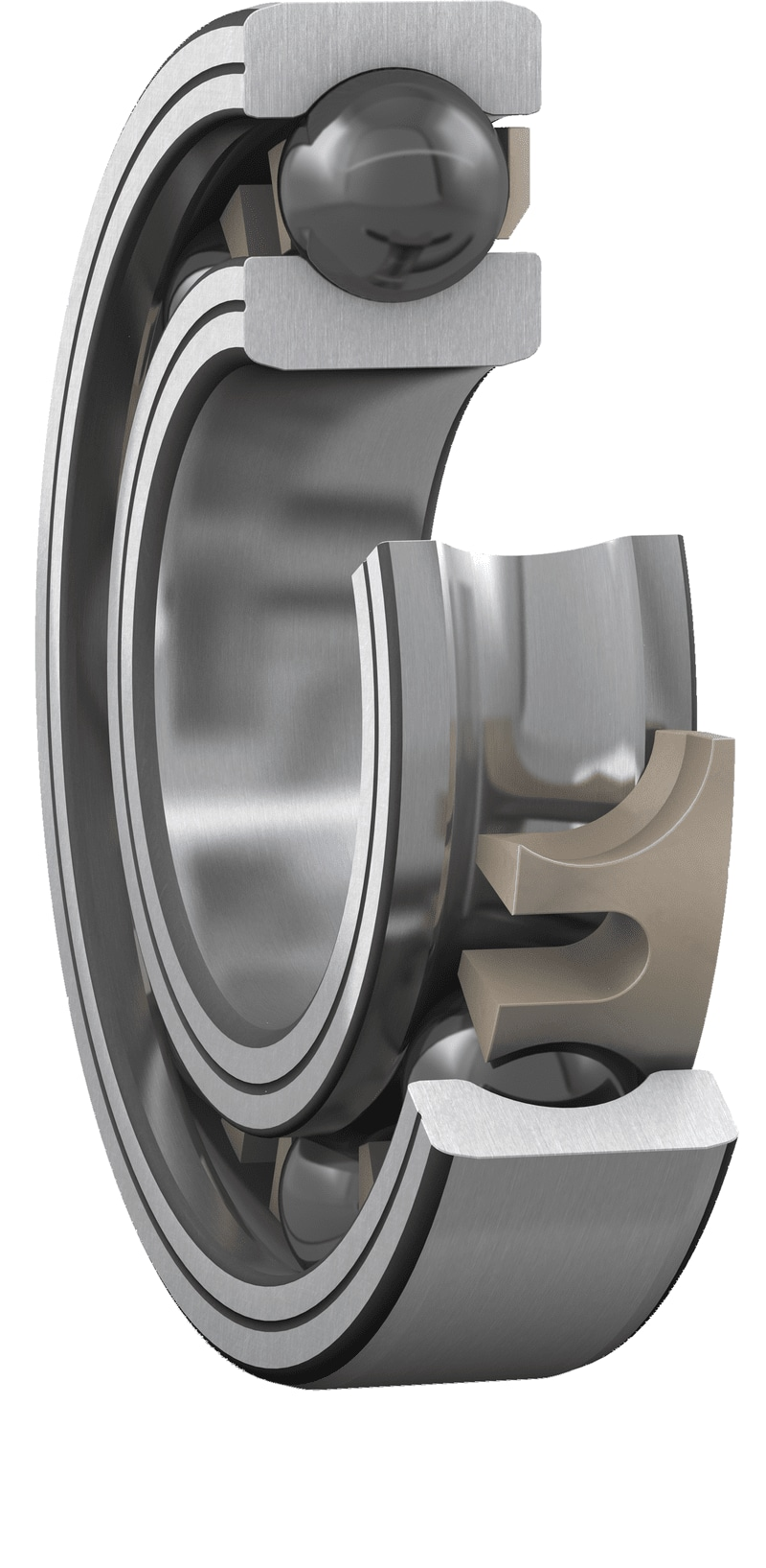 Hybrid bearing with PEEK cage