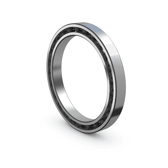 Thin section ball bearing with steel cage