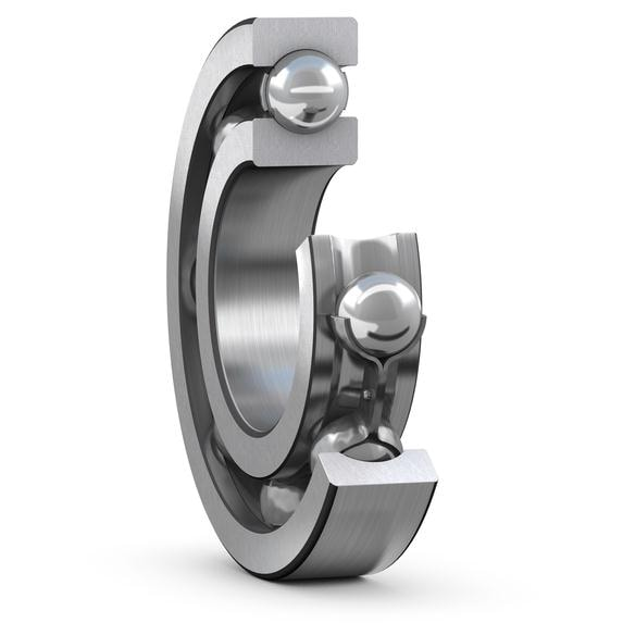 Deep groove ball bearing with steel cage cut view