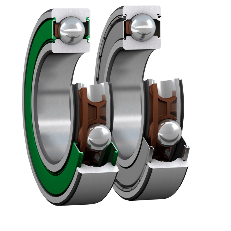 Pair of SKF E2 deep groove ball bearings (DGBB) in cut-away views