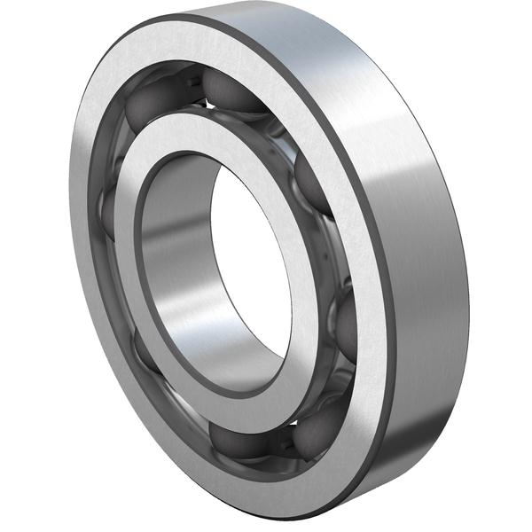 Open deep groove ball bearing with steel cage